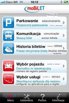 O menu aplicativo no celular