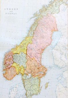 Antique 19thC Blackies Atlas Sweden & Norway Map Page for Framing 1880s - Ebay £0.99