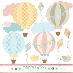 Hot air balloon and kite pastel pink yellow by poppymoondesign