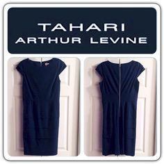 """TAHARI • Navy • Dress Beautiful dark navy dress with a layered look around the bottom and cap sleeves, has a gold zipper going down the back side of the dress, which in all gives it an elegant look. Dress is lined on the inside. Color is closest to the third picture.  Brand • Tahari.  Size • 10.  Chest • underarm across 18"""".  Length • 38.  Fabric • 62% polyester, 33% viscose, 5% spandex • Lining 100% polyester.  Condition • worn with care a couple of times, like new. Has been dry cleaned…"""