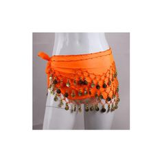 3 Row Belly Dance Hip Skirt Scarf Belt Waistband Dance Performance... ($5.35) ❤ liked on Polyvore featuring orange