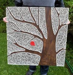 Baum-String Kunst Red Leaf Reverse String Art Baum Art