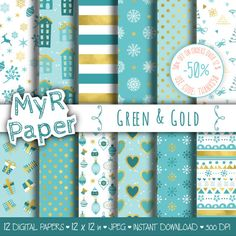 "#Christmas Digital Paper Pack: ""Green & Gold"" #Xmas Digital Paper – printable - x-mas shabby paper  50% OFF ON ORDERS OVER 12 $ (OR NEARLY 12 €) USE CODE: THANKS50  Hello And... #patterns #design #graphic #digitalpaper #scrapbooking #holidays"