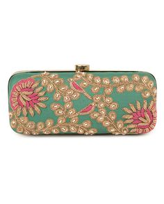 Vintage Green Bird Motif Clutch