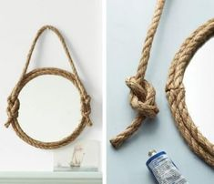 15 Beautiful Rope Crafts For Timeless Decor Ideas. Crafts with rope/twine. Love the awesome craft DIY easy quick decor projects Rope Mirror, Diy Mirror, Mirror Bathroom, Rope Crafts, Diy And Crafts, Home Decor Hacks, Diy Home Decor, Diy Projects To Try, Craft Projects