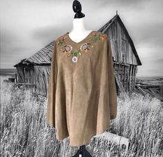 Boho Vintage Suede Poncho Tan with Bright Folk Floral Embroidery 60's 70's Hippie Poncho
