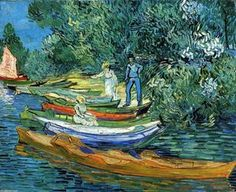 Rowing Boats on the Banks of the Oise - (Vincent Van Gogh)