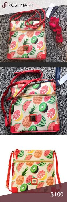 Ambrosia Crossbody Dooney & Bourke Made of adorably printed pebbled leather. Top-zip closure. Leather adjustable buckle strap. Exterior zip pocket. Brand logo detail. Interior features a back-wall zip pocket and two slip pockets. Imported. Dooney & Bourke Bags Crossbody Bags