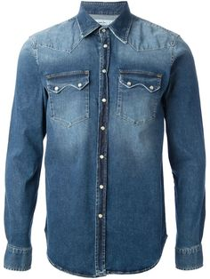 Faded blue cotton denim shirt from Department 5 featuring a pointed collar, a snap button closure, front flap pockets, long sleeves and snap fastening cuffs.