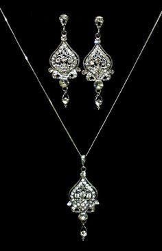 Victorian Wedding, Pearl Teardrop Bridal Earrings, Ornate Swarovski Crystal Jewelry, ALLY. $57.00, via Etsy.