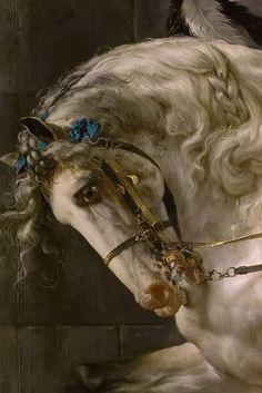 Portrait of Count Potocki, by Jacques-Louis David, (detail) Renaissance Paintings, Renaissance Art, Pretty Horses, Beautiful Horses, Horse Drawings, Art Drawings, David Painting, Academic Art, Classic Paintings