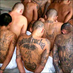 This is the deadly gangs of El Salvador 18. The gang life is very dangerous and could get caught up easily. Prison life may be down the road for gang members. This is reality.