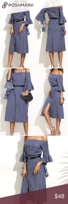 Stripe ruffle sleeve off shoulder dress.Price firm Blue white stripe, ruffled sleeve off the shoulder dress. See size chart for exact size dimensions. Note-Does not include belt. Material-Cotton. (#1501) Boutique Dresses Midi