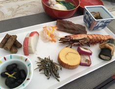 Happy New Year  Simple and healthy #osechi (New Year dishes ) #kuromame #kamaboko #mochi #ebi  #Itadakimasu