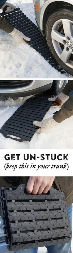 Stuck in ice, mud, or sand? This mat's flexible, treaded links grip the ground to give wheels traction. Folds up to store in your trunk. d'autres gadgets ici : http://amzn.to/2kWxdPn