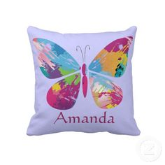 Colorful Butterfly Design Reversible Throw Pillow