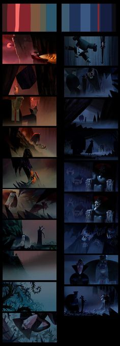 "Color script for the unused ""Meet Vlad"" sequence.:"