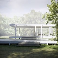 bauhaus-movement:  Farnsworth House, built by Mies van der Rohe in 1951, at Plano, Illinois.