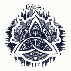 Dragones, símbolo de la Viking. Timón de asombro aegishjalmur, nudo de la Trinidad celta, estilo étnico norte, tatuaje. Dragones y diseño céltico del nudo, tatuaje y camiseta - ilustración de arte vectorial