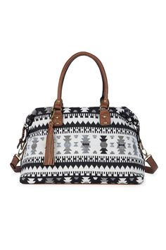 Canvas tribal printed duffel bag with a fun tassel