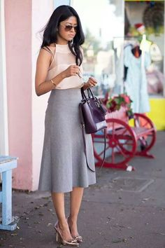 sheer panel top and grey wool blend high waisted skirt by Theory.