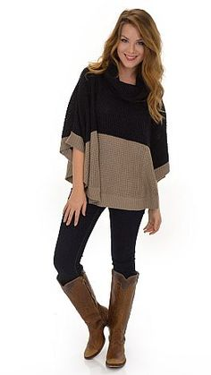 Colorblock Poncho :: NEW ARRIVALS :: The Blue Door Boutique