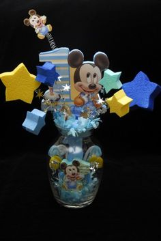 BABY MICKEY MOUSE 1ST BIRTHDAY GLASS VASE CENTERPIECE