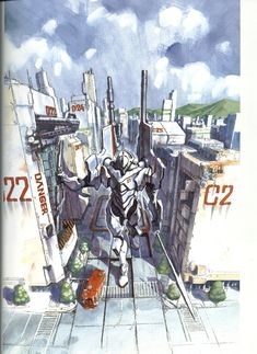 Concept Art for Evangelion - from Der Mond: The Art of Evangelion by Yoshiyuki Sadamoto