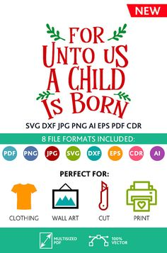For Unto Us A Child Is Born SVG Cut Files Wall Art Quote Printable Art Decor room Printable Poster digital Svg Dxf Cdr Eps Ai Jpg Pdf Png