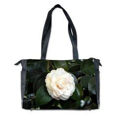 Cream white camellia flower Diaper Bag on CafePress.com