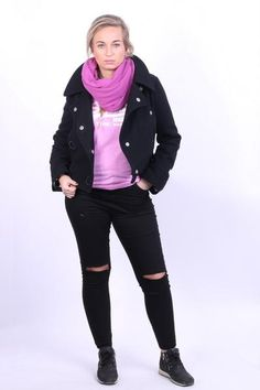 Ecko Womens M Jacket Black Wool Nylon Ladies Cropped - RetrospectClothes