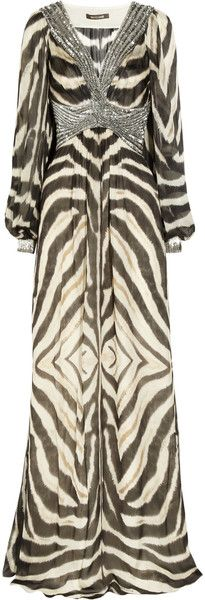 KITTEN K'outure  Roberto Cavalli  Embellished Animalprint Silk Gown     dressmesweetiedarling