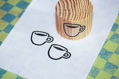 Coffee Cup Rubber Stamp Deep Etch Handmade. $4.25, via Etsy.