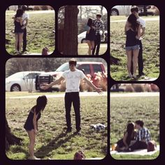 My boyfriend had someone take pictures of how he asked me to be his girlfriend, along with our picnic. <3