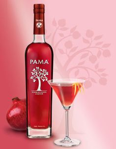 Pomegranate Liqueur for Valentine's Day: ½ oz PAMA Liqueur ½ oz Yellow Chartreuse 1 ½ oz Burnett's Vodka ¾ oz Fresh Lime Juice 1 barspoon Simple Syrup Shake ingredients over ice and strain into a chilled cocktail glass. Garnish with 7 pomegranate seeds. Cherry Liqueur, Pomegranate Seeds, Colorful Drinks, Pink Drinks, Liquor Bottles, Drink Bottles, Premium Vodka, Rome, Liqueurs