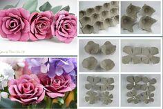 Bloemen maken van kartonnen eierdozen