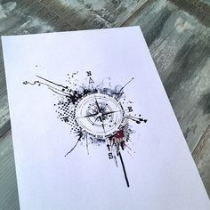 My first tattoo ❤️ Abstract trash polka compass Future Tattoos, Love Tattoos, Tattoo You, Unique Tattoos, Beautiful Tattoos, Body Art Tattoos, New Tattoos, Tatoos, Tatuagem Trash Polka