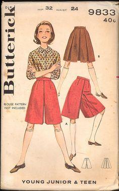 Uncut 1960s Waist 24 Girls Culottes Skirt Butterick 9833