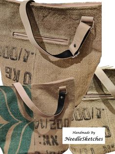 #slowfashion #Handmade #Upcycle #MadeInIreland This is a beautiful Jute bucket bags with adjustable strap, waterproof canvas lining , one inner and one outer zipper pocket, and slim magnetic closure. Handmade Fabric Bags, Coffee Sacks, Bucket Bags, Slow Fashion, Bag Making, Jute, Upcycle, Reusable Tote Bags, Slim