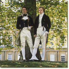 "Ciarán Hinds as Captain Wentworth and Samuel West as William Elliot in the 1995 production of Jane Austen's ""Persuasion."""