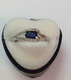 Beautiful Blue Sapphire Diamond Ring Set In 14k White Gold