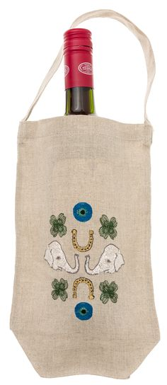Coral & Tusk embroidered Good Luck Wine Bag - http://www.coralandtusk.com/collections/gift-bags/products/good-luck-embroidered-wine-bag