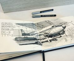 dakota (STM penerbangan, Jakarta).. ink + koi coloring brush pen on A5 landscape book