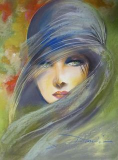 "Miraclepooh: ""art by damian tirado "" watercolor in 2019 pain Art Deco Paintings, Fine Art, Portrait Art, Portraits, Beautiful Paintings, Female Art, Painting & Drawing, Watercolor Art, Modern Art"