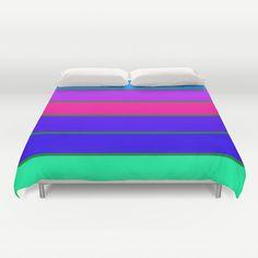 #DuvetCover, #CoolTone Stripes Duvet Cover, Pink Blue Purple Bedroom, Full, Queen Duvet , King Duvet, Teal Duvet, Colorful Duvet #homedecor by #2sweetsHomeDecor on Etsy