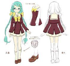 Miku Hatsune schoolgirl outfit concept art.