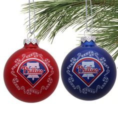 Philadelphia Phillies 2-Pack Home and Away Glass Ball Ornaments - Red/Navy Blue