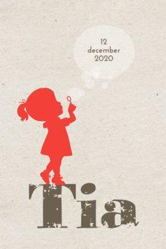 Hip geboortekaartje van JilleJille.nl met silhouette van meisje met bellenblaas. Verzenden gratis & Proefdruk €1,-