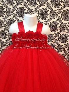 Couture Tutu Dress Red Flower Girl Tutu by LittleMissTrendyTutu
