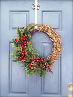 Grapevine Christmas Wreath  Winter Wreath  by WreathsByRebeccaB, $49.00
